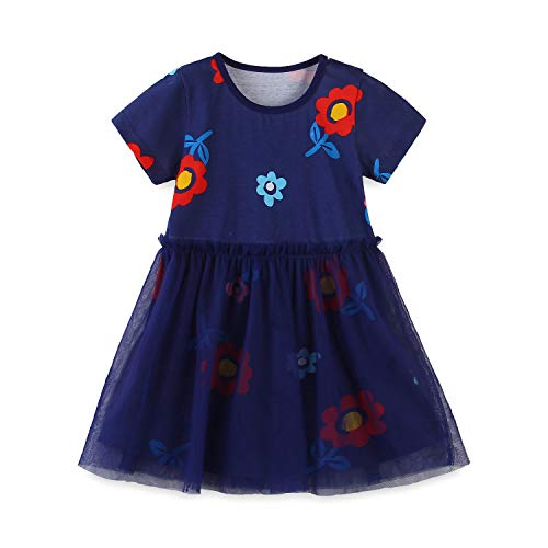 HXCMall Little Girls 100% Cotton Striped Casual Dress