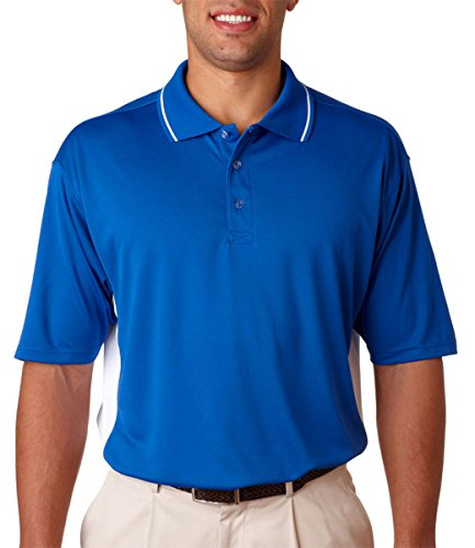 UltraClub Men's Relaxed Fit Two Tone Mesh Polo Shirt, XXXX Large, royal/white for $<!--$21.69-->