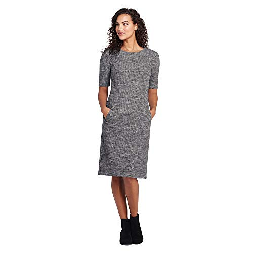 (Lands' End Women's Ponte Knit Sheath Print Dress with Elbow Sleeves, 12, Charcoal Heather)