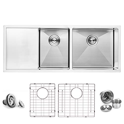 "BAI 1254-45"" Handmade Stainless Steel Kitchen Sink Double Bowl With Drainboard Under Mount 16 Gauge"