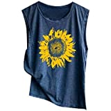 LIULIULIU☪Women Sleeveless Sunflowe Print Shirt Loose Tank Top Soft Top Navy