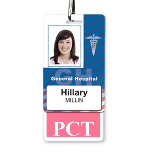 PCT Vertical Badge Buddy with Pink Border by Specialist ID, Sold Individually