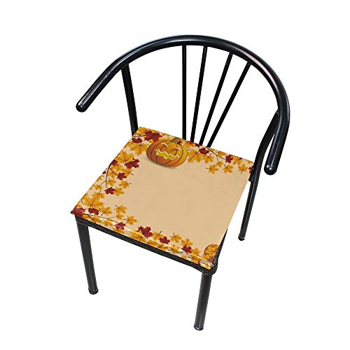 Velvet Square Cotton Chair Memory Foam Cushion Comfort Softness 16x16 in Halloween Pumpkin with Leafs]()