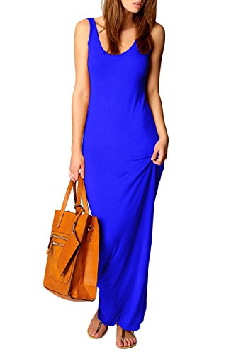 YMING Elegant Comfy Tank Dress Slim Fit Solid Color Maxi Long Dress Blue (Blue Soft Dress)
