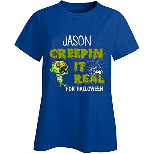 [Jason Creepin It Real Funny Halloween Costume Gift - Ladies T-shirt] (Jason's Girlfriend Costume)
