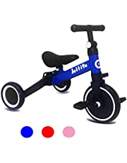 Jollito 3-in-1 Kids Tricycle Indoor/Outdoor Pushbike Balance Bike Baby Trike Baby Toddler Ride-On Color Box Packaging Bike Multifunctional (Blue) 1-3 Yrs