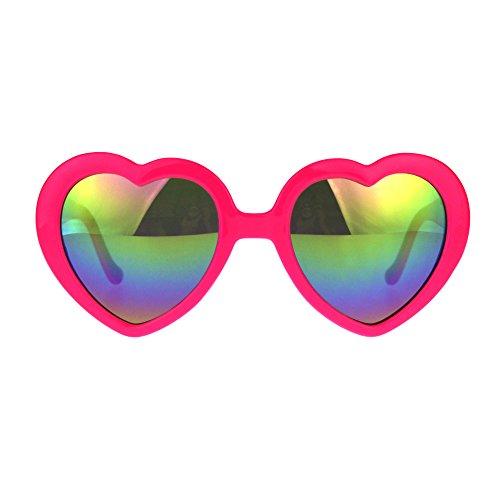 Womens Reflective Rusta Mirror Lens Plastic Frame Heart Shape Sunglasses - Glasses Heart Pink