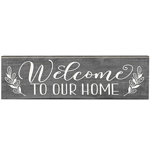 Welcome to Our Home Inspirational Pine Block sign Quotes for Women and Men Gift ideas for Husband, Wife, Family, and Best Friends 2