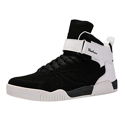 BOLMI Mens High Top Sneakers Casual Lace Up Skateboard Shoes Fashion Comfortable Street Sneakers Running Shoes Black -