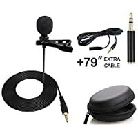 AccsPro 3.5mm Lapel Lavalier Clip-on Microphone with TRRS to TRS Adapter, 79 Inch Extra Cable and Carrying Pouch