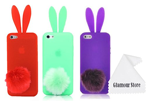 Cute Lovely Rabbit Silicone Bunny Case Cover Protector For Apple iPhone 5 with Furry Tail-Pack (x3)Red,Green,Purple,With Free Cleaning Cloth As a Gift ()