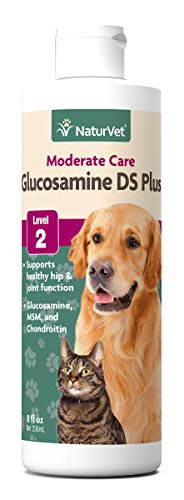 NaturVet - Glucosamine DS Plus MSM Liquid - Level 2 Moderate Joint Care - Supports Healthy Hip & Joint Function - Enhanced with Glucosamine, MSM & Chondroitin - for Dogs & Cats (8 oz Liquid)