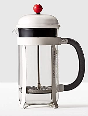 Starbucks Bodum Chambord Coffee French Press White with Red Detail 34oz