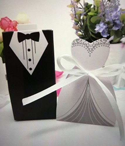 100pc wedding Favor Gift Box Set/Groom Tuxedo Bride Dress+Ribbon/Paper/Party A4 US Seller Ship Fast -