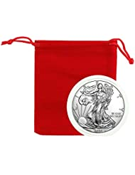 2020 - American Silver Eagle .999 Fine Silver in Direct Fit Air Tite in Red Velvet Gift Bag with our Certificate of Authenticity Dollar Uncirculated Us Mint