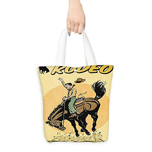 (Shopping Tote Bag 1950s Decor Old Style Art of a Rodeo Cowboy Riding Horse American Wild West Artistic Work Yellow Brown Orange (W15.75 x L17.71 Inch))