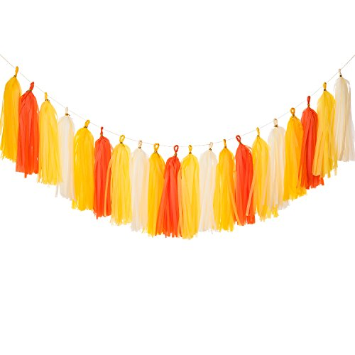 Party Tissue Paper Garland (Tissue Paper Tassel Garland (20 Tassels) Tassel Garland Banner For Bedroom Decor Wedding Party Baby Shower Event Decor DIY Kits-(Ginger+yellow+Orange+White))