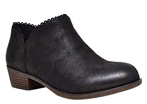 Top Sabina Caged Black Womens Ankle Booties Faux Leather Non Skid Block Classic Unusual Cool Sexy Fun New Short Western Cowboy Boho Dress Shoe Valentines Day Sale Ladies Teen Girl (Size 9,Black)