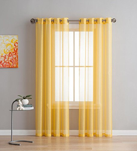 2 Pieces - Total Size 108 Inch Wide (54 Inch Each Panel) - 84 Inch Long - Panel Yellow