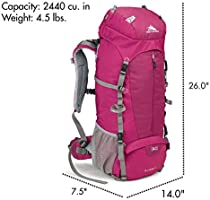 Hiking High-Performance Pack for Backpacking with Rain Fly Boysenberry//Boysenberry//Ash 58449-4202 Camping High Sierra Womens Summit 40L Top LoadBackpack Pack