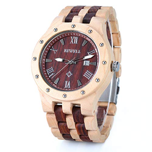 (BEWELL W109A Wood Watches for Men Two Tone Quartz Luminous Wrist Watch with Date)