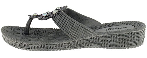 Capelli New York Woven textured injected hooded thong with glitter faux leather flowers Ladies Flip Flop Pewter Grey 8 (Leather Pewter Woven)