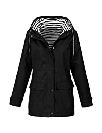 AMOUSTORE Coat Women Winter Solid Rain Jacket Long Sleeve Warm Outdoor Waterproof Raincoat Windproof Overcoat Hooded Outwear