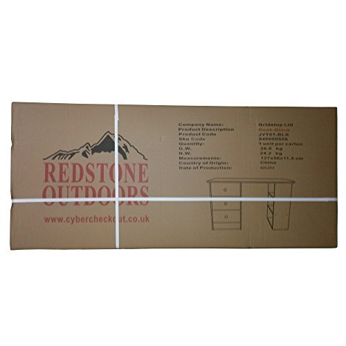-[ Redstone Black Computer Desk - 3 Drawers   3 Shelves - Home Office Table Workstation  ]-