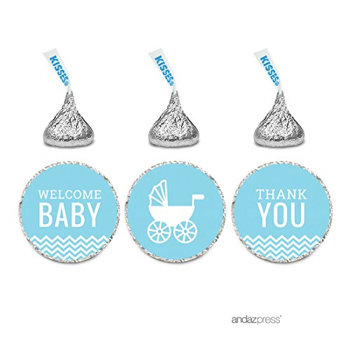 Andaz Press Baby Blue Chevron Boy Baby Shower Collection, Welcome Baby Thank You Chocolate Drop Label Stickers Trio, 216-Pack, Fits Hershey's Kisses Party Favors