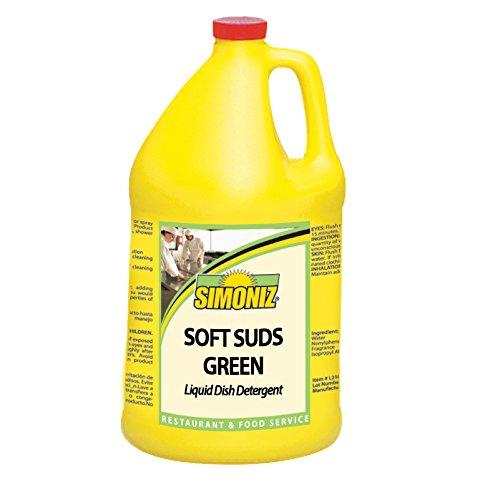 Simoniz G1376004 Soft Suds Green Liquid Soap for Hand Dishwashing, 1 gal Bottle per Case (Pack of 4)