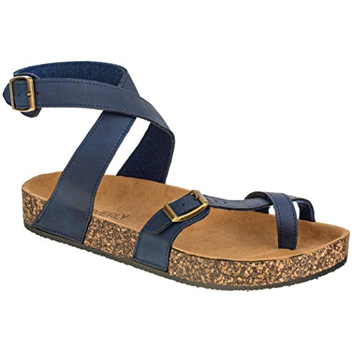 Cork Sole Sandals - CLOVERLY Women's Sandals Slip On Ankle Wrap Cork Sole Footbed Platform Slide Sandal with Buckle (7 M US, Navy)