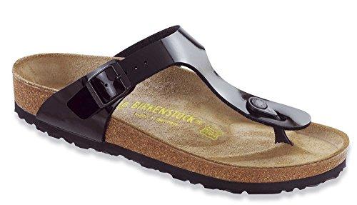 Birkenstock Unisex-Adult Gizeh Birko-Flor Style-no. 43661 Thong Varnish Regular Width Black Patent Suede Sandals 40 M EU 40 M EU