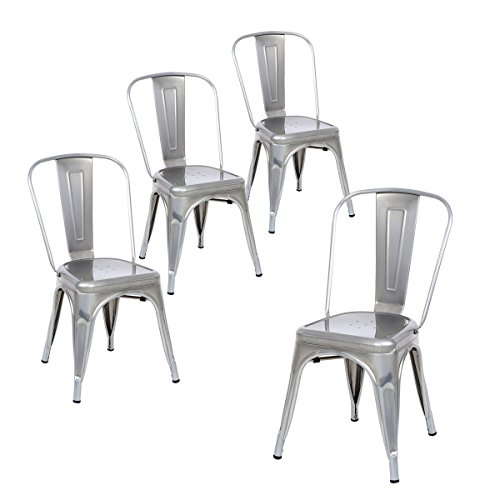 Buschman Set of Four Gray Metal Indoor Outdoor Stackable Chairs with Back