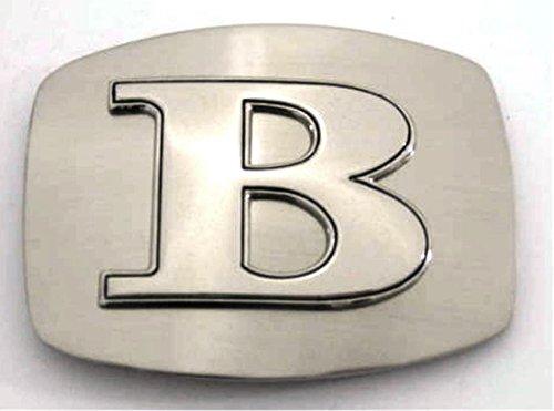 Initial Letter B Western Cowboy Rodeo Silver Metal Costume Halloween Belt Buckle ()