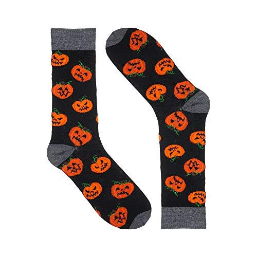 Halloween Fun Socks - Novelty Colorful Dress Socks (Pumpkin) -