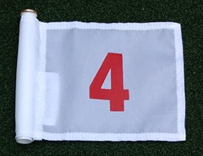 "Red Numbered #4 printed on a solid White Jr. (8"" L x 6"" H) 400 Denier Pin Marker Flag For Golf & Putting Green Applications"