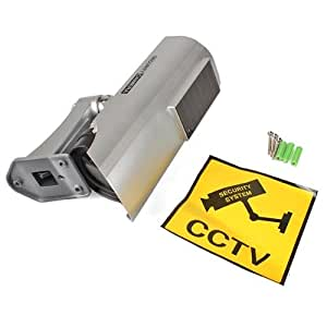 Vigilancia Grabadora Cámara Solar Dummy LED Seguridad Coche Color Plata