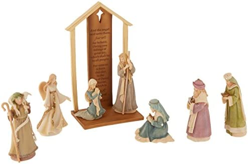 Foundations Mini Nativity Set with Stone Resin Figurines, Set of 8