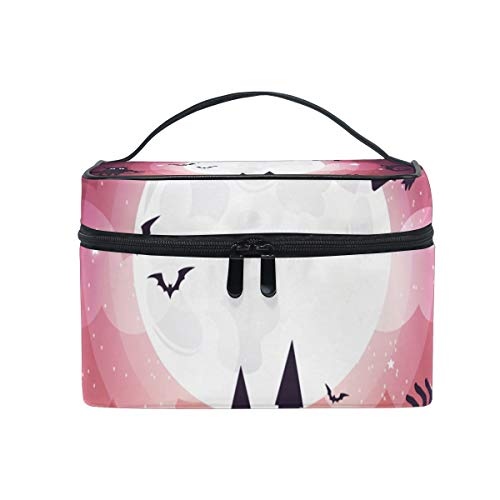 OREZI Halloween Element Design Full Moon Cosmetic Bag Large Multifunction Makeup Travel Toiletry Travel Kit Organizer Case with Quality Zipper Portable for Makeup Bag for Women ()
