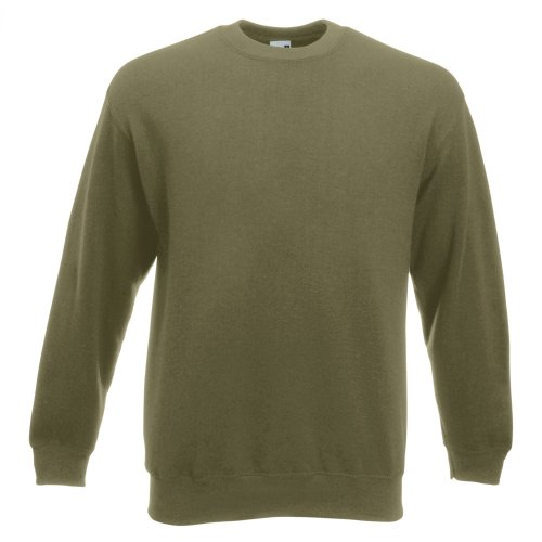 "Fruit Of The Loom Classic Sweatshirt - Fruit Of The Loom Unisex Premium 70/30 Set-In Sweatshirt (2XL (Chest 47-49"")) (Classic Olive)"