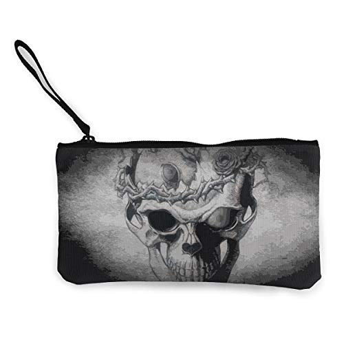 Oomato Canvas Coin Purse Skull Gray Flower Cosmetic Makeup Storage Wallet Clutch Purse Pencil Bag]()