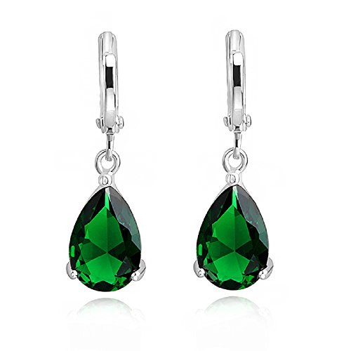 Teardrops Dangle Earrings with Green Simulated Emerald Zirconia Crystals18 ct Gold Plated for Women