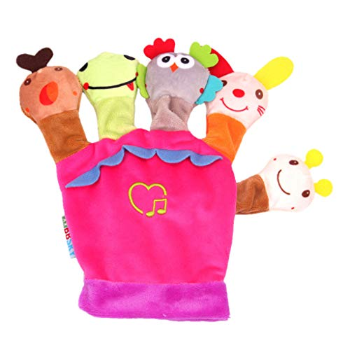 TRONTE Hand Puppet,Finger Puppet Plush Finger Cartoon Doll Story Telling Parent-Child Interaction (Size:20x20cm, Pink)