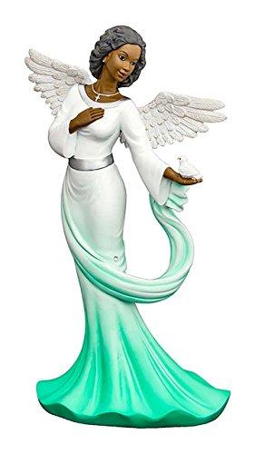 Sash Angel in Green African American Angel Statue ()