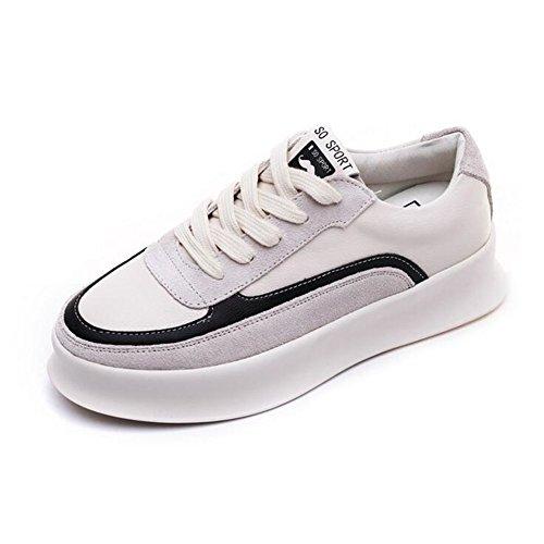 2018 Mujer de pequeños Do Blancos de Cordones de Zapatos Marea Redondeados Planos Zapatos Zapatos Summer con Nuevos de Wild Zapatos Cuero Mujer Fall gtwqUT