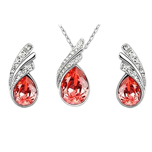 Angel Tear Drop Austrian Crystal Pendant Necklace & Earring Set | Fashion Accessories | Womens Jewelry, Pendant Earrings & Pendant Necklace | Earrings Gift For Girls Women