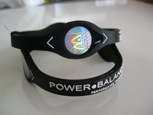 Power Balance Silicone Wristband Black with Black - MEDIUM