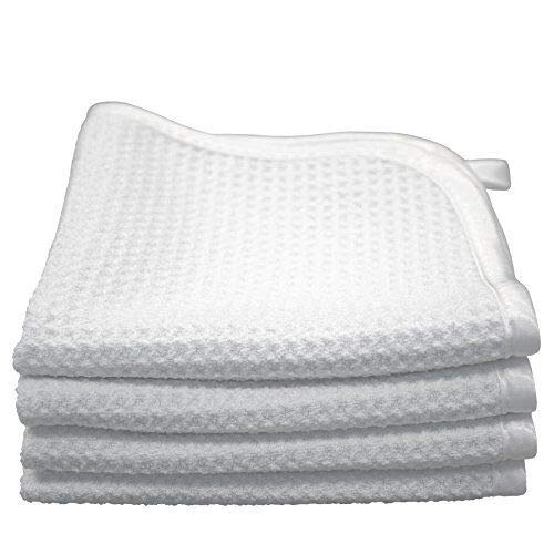 (4-Pack) Premium 12 in. x 12 in. Microfiber Waffle-Weave Facial Towels ~ Ultra Soft Luxury Makeup Remover Exfoliating Wash Cloths with Silky Satin Border ~ TRC Skin Care (White)