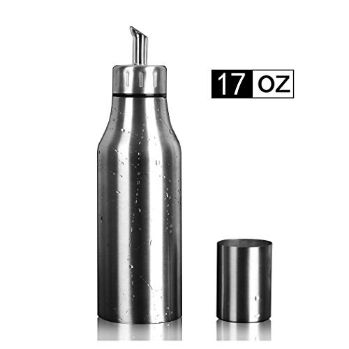 PER-HOME Stainless Steel Olive Oil Dispenser Leakproof Kitchen Oil Bottle (Oil Stainless)