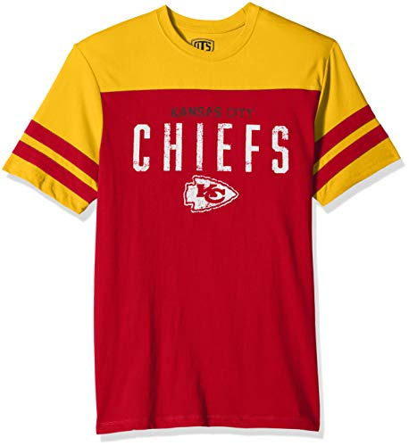 (NFL Kansas City Chiefs Male NFL OTS Cotton Yoke Stripe Tee, Red, Large)